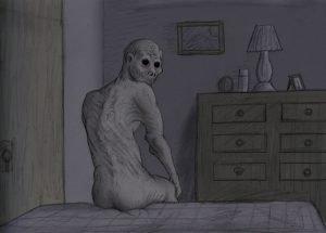 Ancinho ao pé da cama