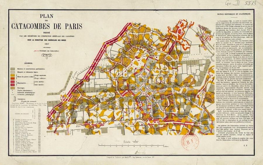 Mapas das catacumbas de Paris