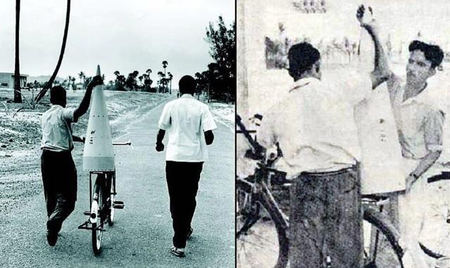 Foguete sendo transportado de bicicleta